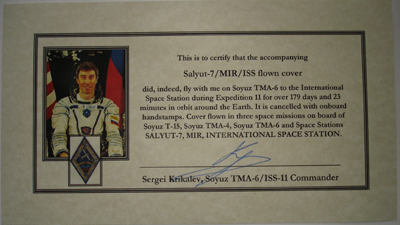 # fc031 Cover flown on Salyut-7, MIR and ISS 2