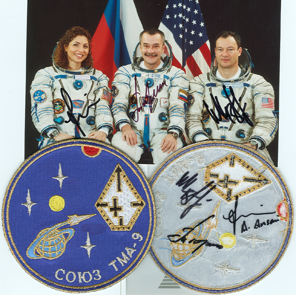 # spp087a  Soyuz TMA-9 crew signed patch 1