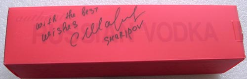 # un139            Autographed bottle of Russian vodka Stolichnaya 3
