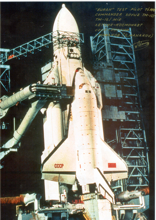# cp120            Energia-Buran 5 photos signed/notared by cosmonaut Manakov 1