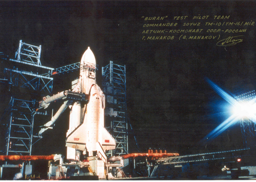 # cp120            Energia-Buran 5 photos signed/notared by cosmonaut Manakov 2