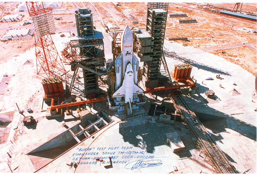 # cp120            Energia-Buran 5 photos signed/notared by cosmonaut Manakov 5