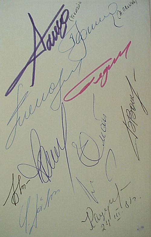 # cb213            12 autographs in P.Stefanovskiy book 2