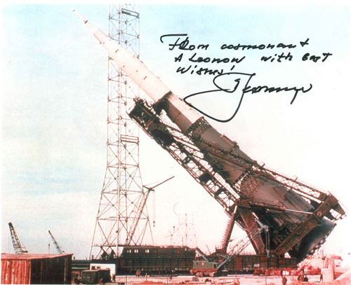 # iph502            N-1 rocket photos signed-notared by Alexei Leonov 1