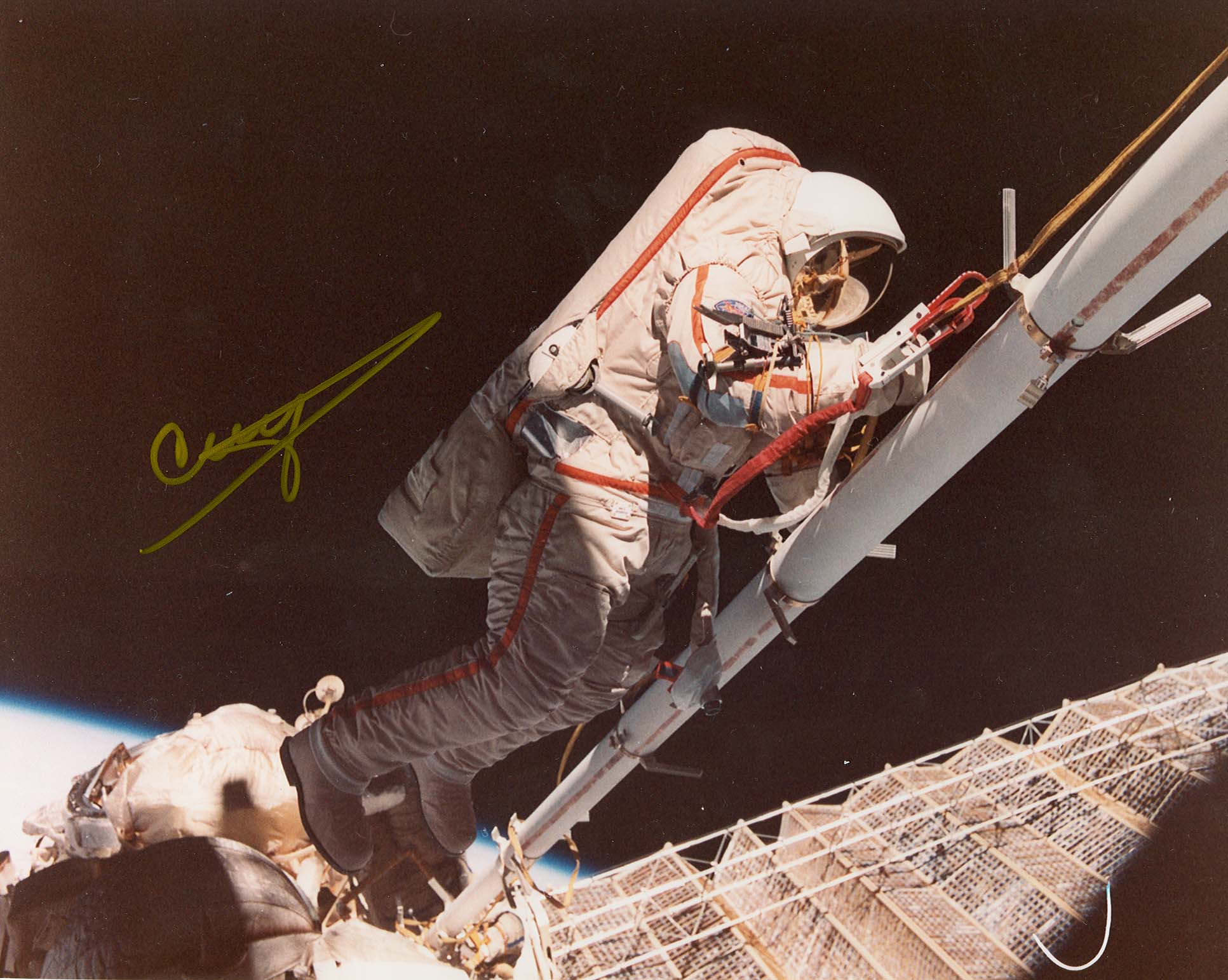 # iph800a            Cosmonaut Strekalov EVA signed photo 1