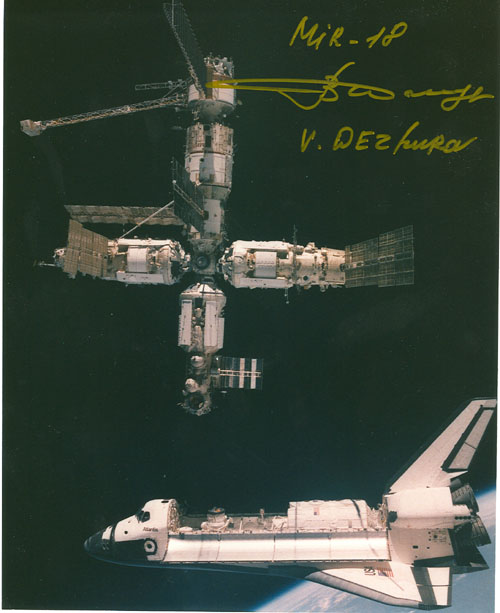 # iph299            First MIR-Shuttle docking signed photos 2