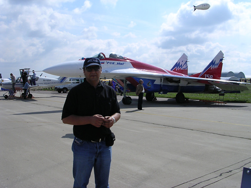 # ci298            At Moscow International Airshow in Zhukovskiy near Mig-29 Swifts team aircraft 1
