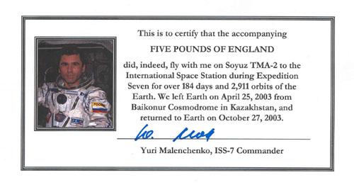 # fb312            Scotland One Pound bill flown on ISS 2
