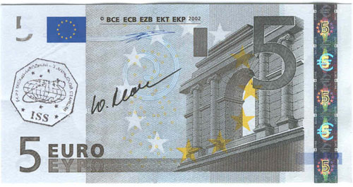 # ma409            ISS-7 flown 5 Euro bill 1