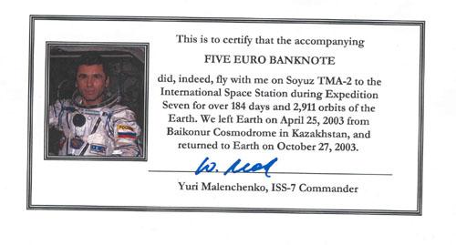 # ma409            ISS-7 flown 5 Euro bill 2