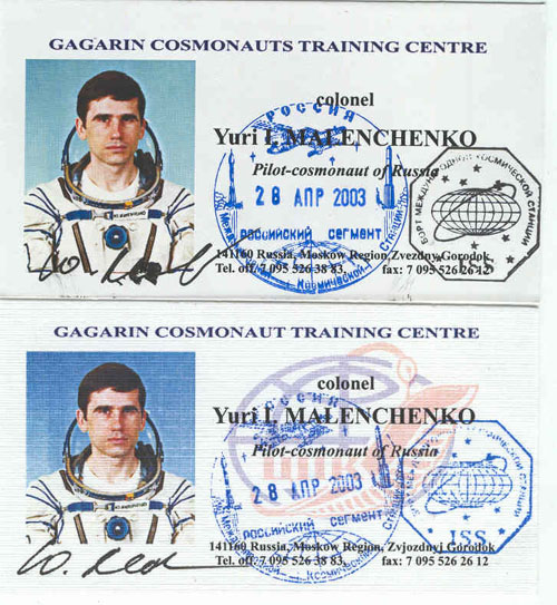 # ma100a            Flight commander Malenchenko business cards 1