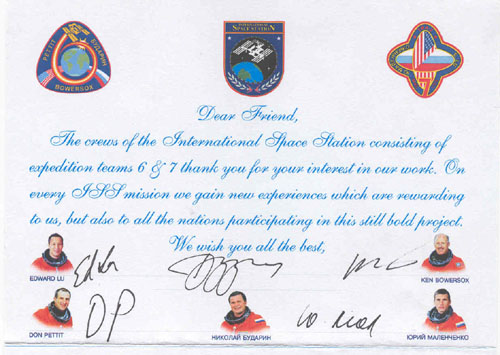 # ma200            ISS-6 and ISS-7 crew flown Greeting letter 2