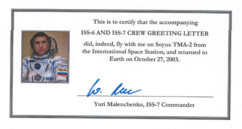 # ma200            ISS-6 and ISS-7 crew flown Greeting letter 4