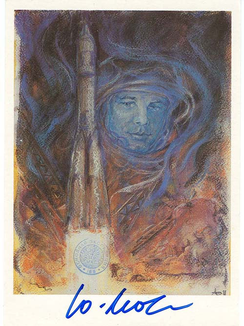 # ma605            Cosmonaut V.Dzhanibekov artwork card 1