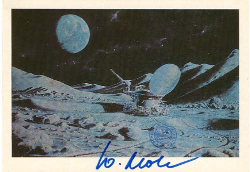 # ma622            A.Sokolov art card Lunokhod-2 walks on the Mo 1