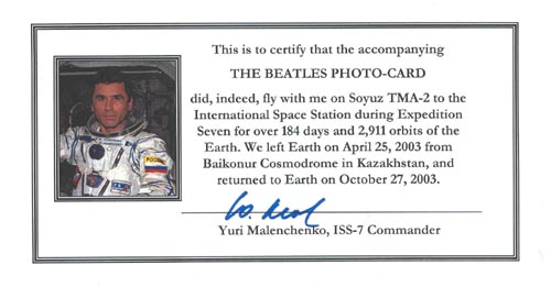 # ma299d            Beatles cards flown on ISS/Soyuz TMA-2 5