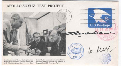 # ma258            1973 American ASTP cover flown on ISS 1