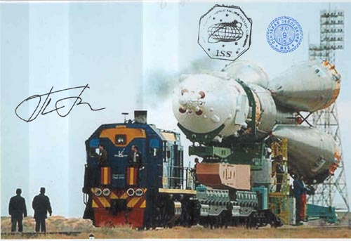 # gp927            Soyuz rocket at railroad platform flown photo 1