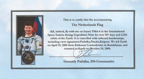 # gp500            Soyuz TMA-4/ISS-9 flown Dutch flag 3