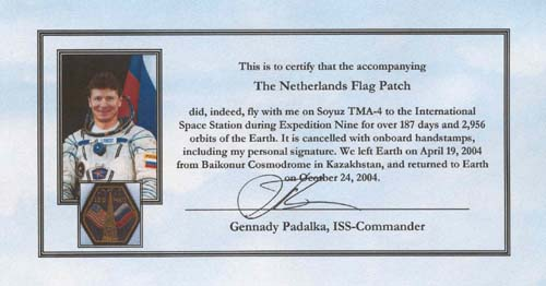 # gp502            Dutch flag patch flown on Soyuz/ISS 4