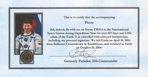 # gp600            Soyuz TMA-4 crew signed-flown photo 2