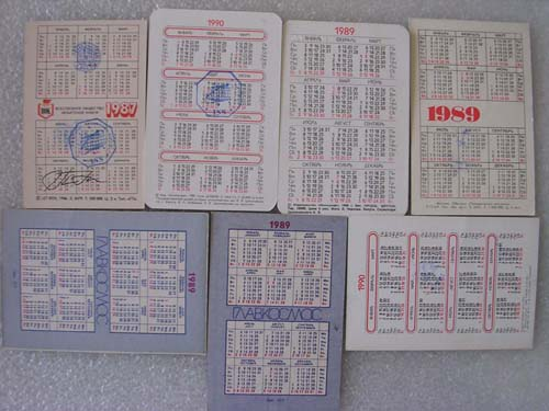 # gp700            Old Soviet pocket calendars flown on ISS 2