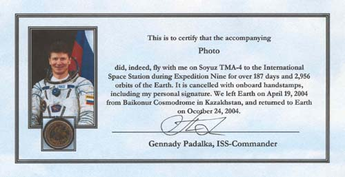 # gp914            Photo flown on Soyuz TMA-4/ISS-9 2
