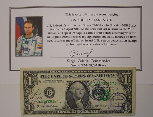 # mir555            One US Dollar Flown Banknote 1