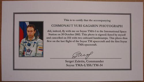 # zal350            Yuri Gagarin photo flown on ISS 2