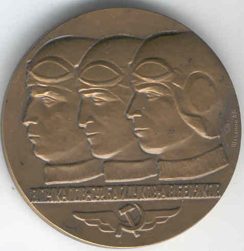 # avmed101            Moscow-North Pole-USA bronze commemorative medal 1