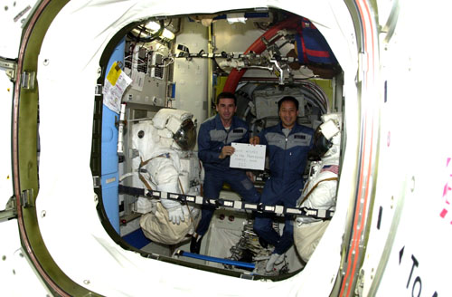 # ic085a            Greeting from Russia-USA team ISS-7 2