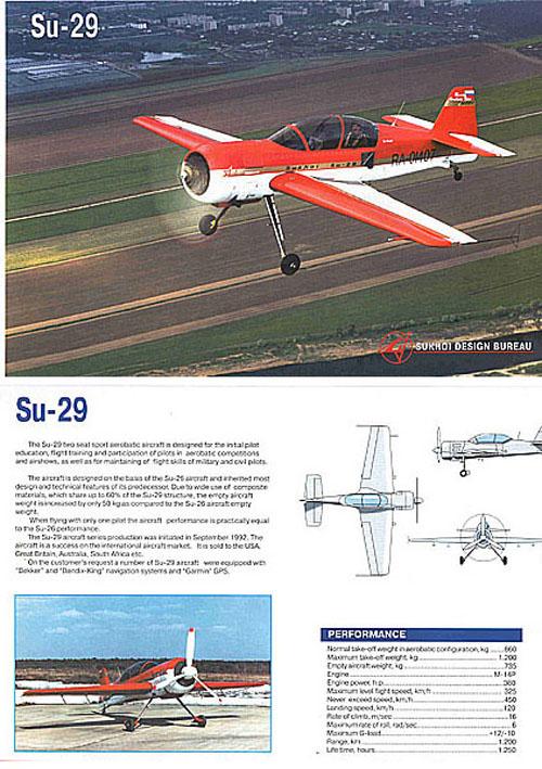 # amgzbrsh401            Sukhoi SU-29 factory information brochure 1