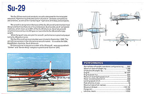 # amgzbrsh401            Sukhoi SU-29 factory information brochure 2