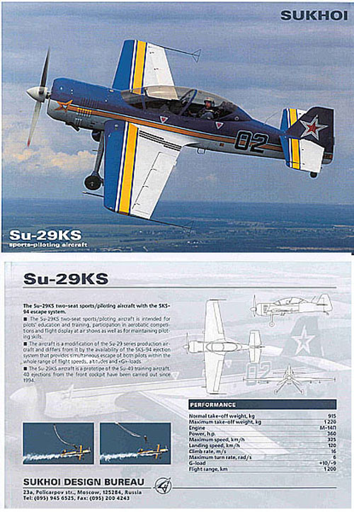 # amgzbrsh402            Su-29KS aerobatic aircraft Sukhoi brochure 1