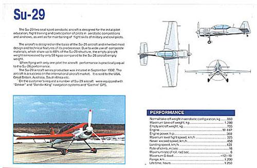 # yaksu401            SU-29 aerobatic Sukhoi aircraft brochure 2