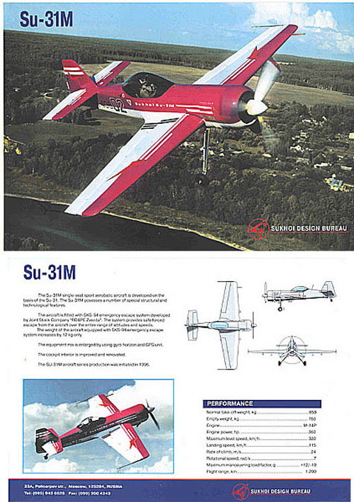 # yaksu403            SU-31M new sports aerobatic aircraft Sukhoi factory brochure 1