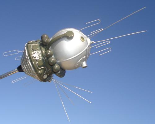 # sm008            Cosmonaut Bykovskiy autographed Vostok model 1