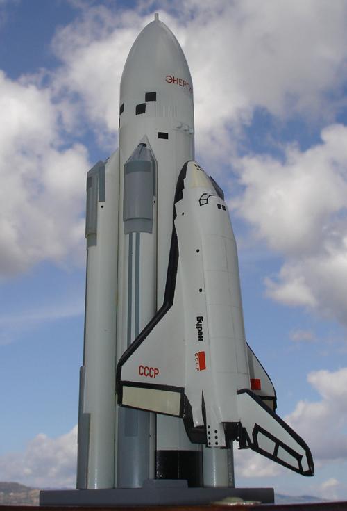 # sm490            Cosmonaut Krikalev autographed Energia-Buran model 3
