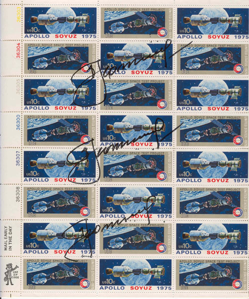 # astp107            Leonov signed ASTP stamp sheet 1