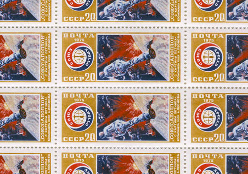 # astp500            ASTP 30 stamps from artwork of A.Leonov 2