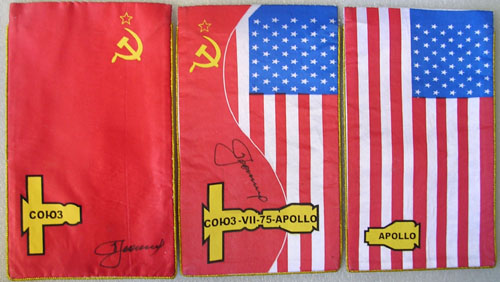 # astp096            ASTP commemorative flags signed by Leonov 1
