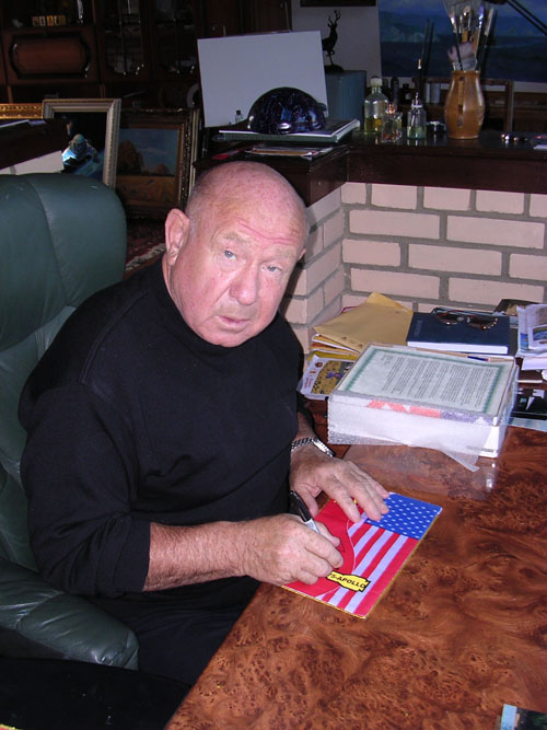 # astp096            ASTP commemorative flags signed by Leonov 2