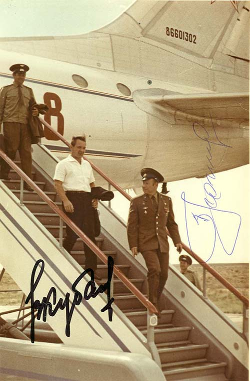 # astp962            Soyuz -19 ASTP crew signed arrival picture 1