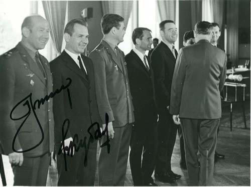 # astp964            Leonov-Kubasov signed photo of Soyuz-19 ASTP and Soyuz -17,18 cosmonauts 1