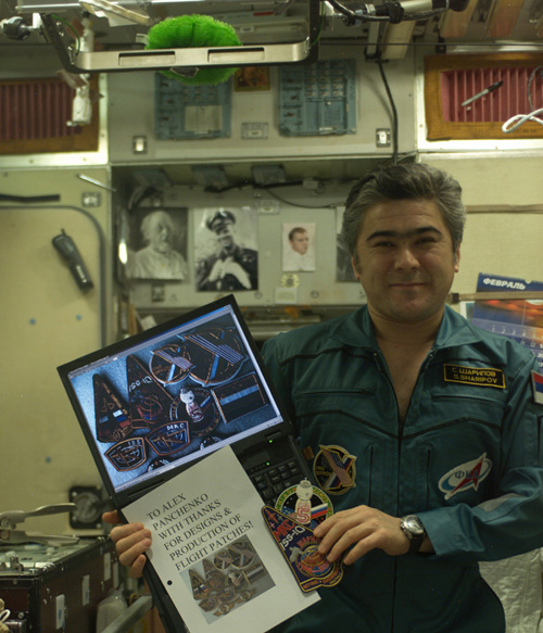 # spp096a            Tyanj-Shanj Personal patch of ISS-10 cosmonaut Sharipov 3