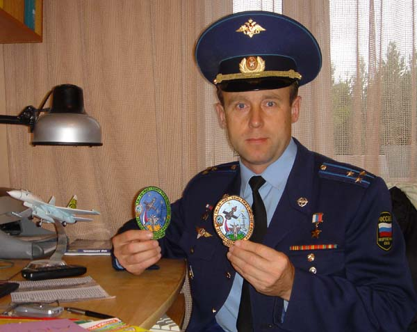 # spp091            Personal patches-pins of cosmonaut Sergei Zaletin 2