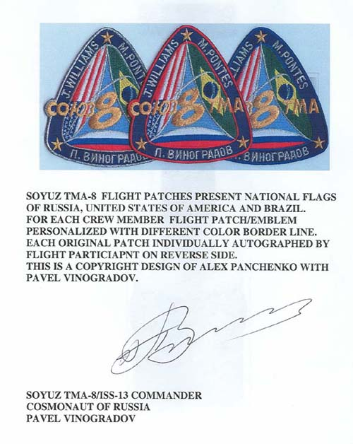 # spp088            Soyuz TMA-8/ISS-13 crew signed patches info letters 2