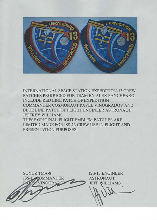 # spp090b            Astronaut Jeff Williams ISS-13 signed patch 2