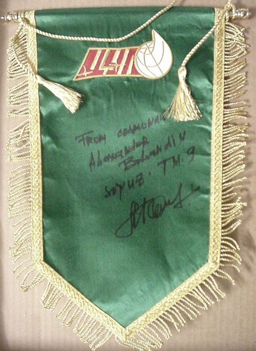 # pnt137            Mission Control Center pennant signed/notared by cosmonaut Balandin 1
