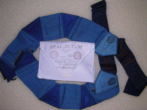 # h051f            ISS-3/STS-105/108 flown Bracelet kit of Dezhu 1